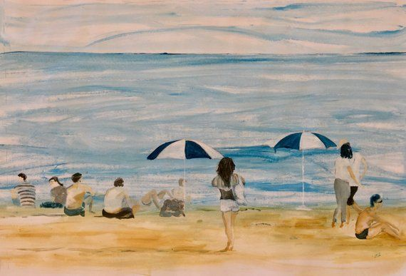 Beach Painting Large Original Painting Acrylic On Canvas Vintage