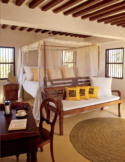 The Bedroom Is Also Inspired By Local Nature On The Ceiling Beams Are Of Mangrove Trees A Bed