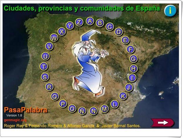 """Pasapalabra de """"Ciudades, provincias y comunidades de España"""" (Genmagic.org)"""
