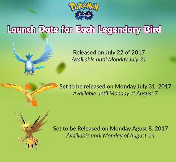 Pokémon Go Moltres, Zapdos, Articuno legendary bird raid times detailed