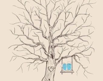 Benutzerdefinierte Hochzeit Gäste Buch Alternative Vintage Wedding Guestbook Daumen Fingerabdruck Hochzeit Baum personalisiert Hochzeit Liebe Vögel auf Schaukel
