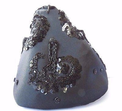 Винтажная шляпа-чарльстон, арт-деко, блестки, спецодежда, черный атлас cloche тюрбан стиль