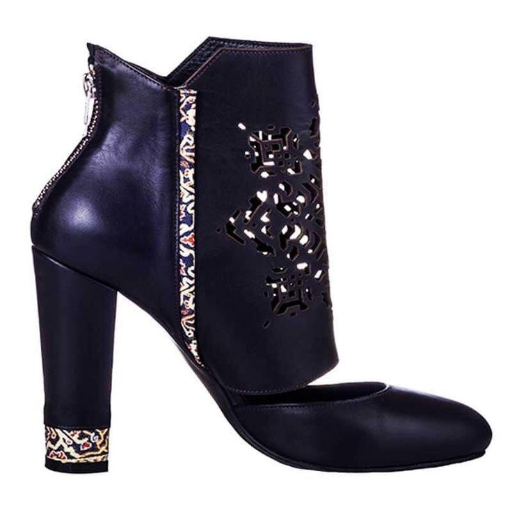 Black leather boots - romanian designers SHOP ONLINE