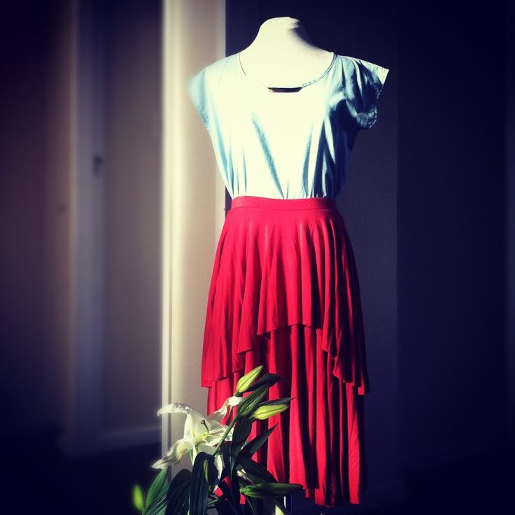Layered Circular Skirt, Rust with Block Top in Sky-Blue from www.lo-studio.biz  http://www.facebook.com/lostudiopage