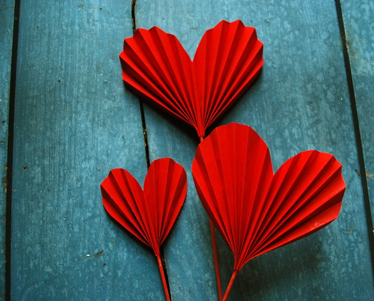 Origami Valentine, Red Heart Blossoms, Paper Hearts to add to a Bouquet.