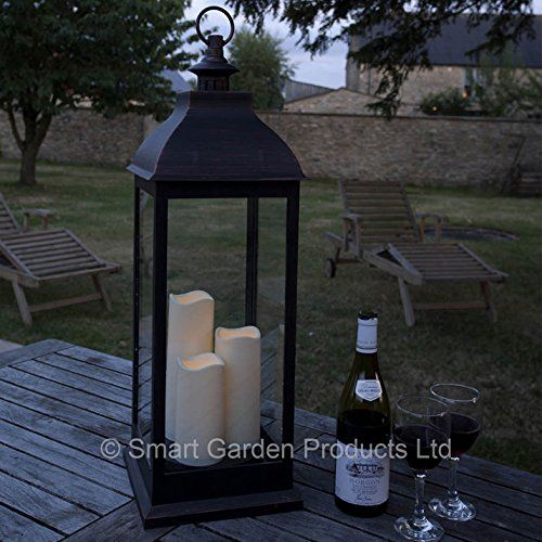 From 38.99 Smart Garden Giant Cream Battery Powered Lantern With 3 Candles In Copper Or Cream (bronze)