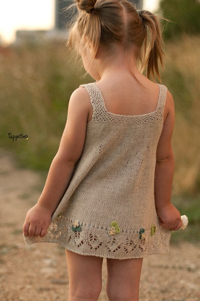 """Summer knitted linen dress for little girls fun. $40.00, via Etsy. How about """"big"""" girls! I love this!"""