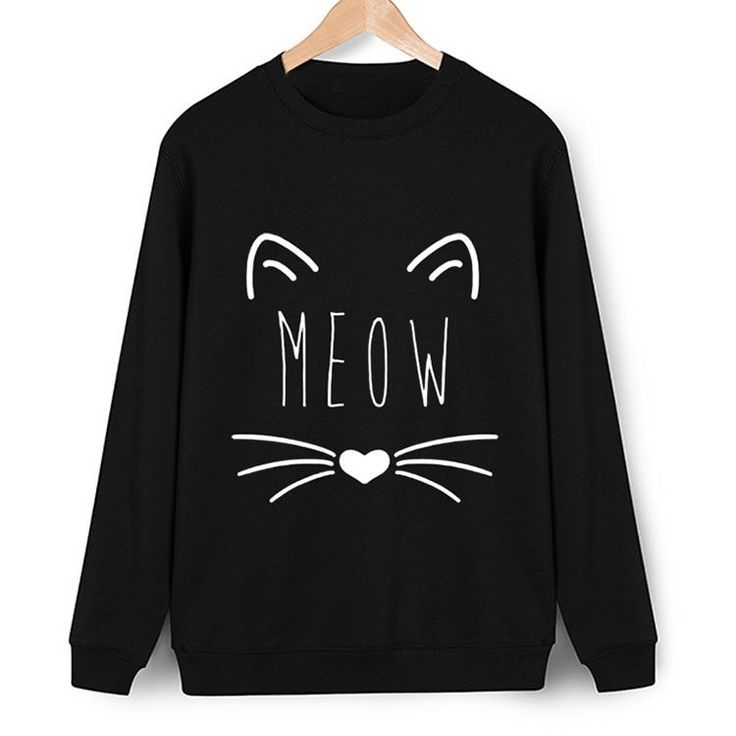 "Enjoy free express shipping on all orders! Cute black sweatshirts featuring the word ""meow"" with the design of a kitty cat. Main Features: - Gender: Women - Item Type: Sweatshirts - Clothing Length: R"