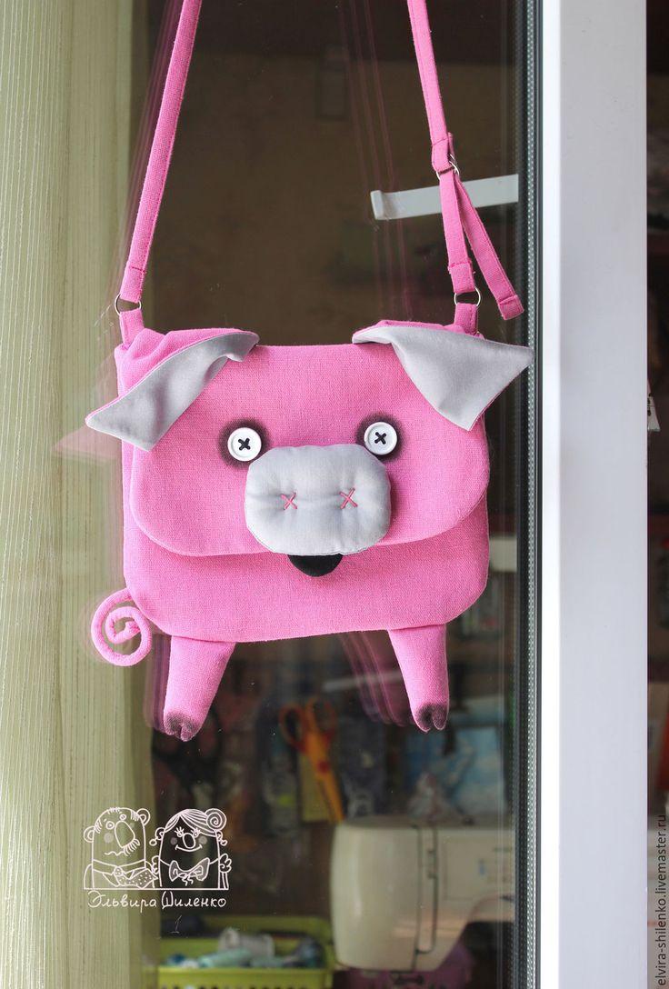 """Купить Сумочка """"Хрю"""" - розовый, однотонный, лён, хлопок, металлические кольца"""