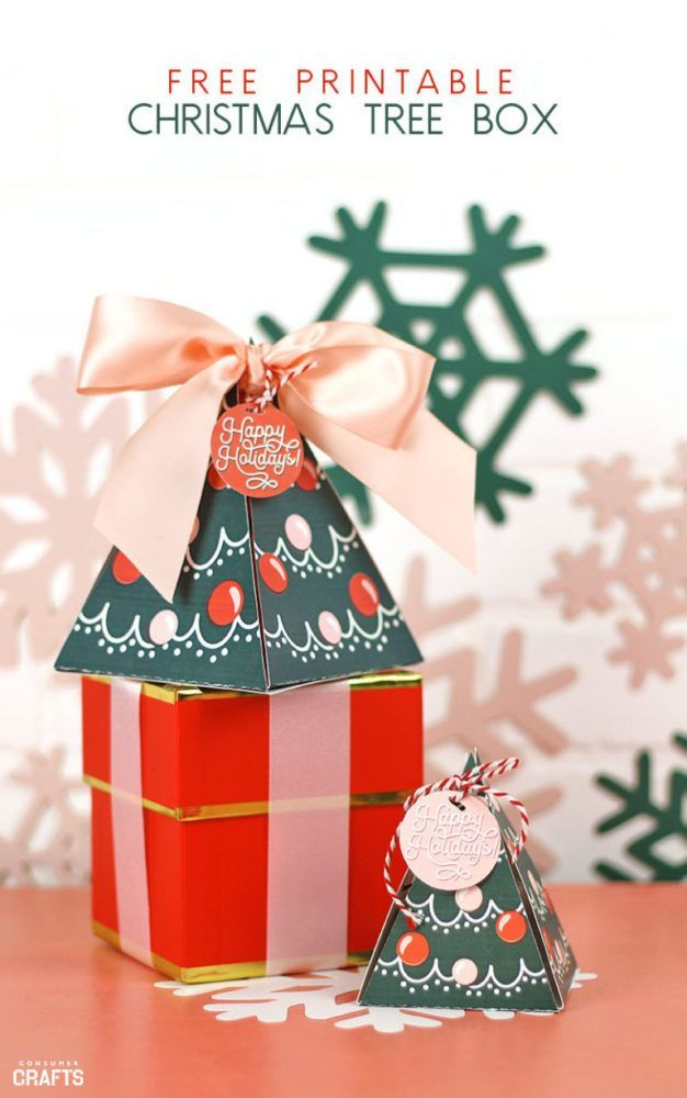 Free Printable Gift Boxes Christmas Trees Consumer Crafts Free Christmas Printables Christmas Tree With Gifts Gift Box Template