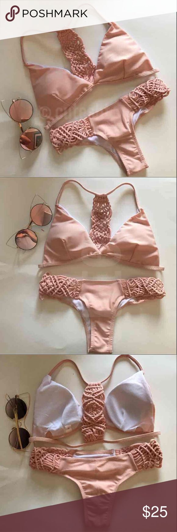 New Peachy Pink Braided Bohemian Bikini Set Top is size medium but can also fit small. Fits A, B, and petite C. Has removable padding.  Medium bottoms fit SMALL (4-6)  Ships same/next day! Swim Bikinis