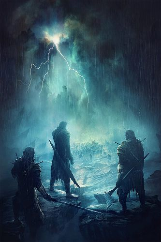 Three human warriors stand against the oncoming horde in the pouring rain.  Typical human behavior...
