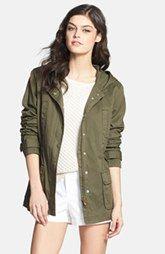 Caslon® Cotton Twill Hooded Jacket (Regular & Petite)