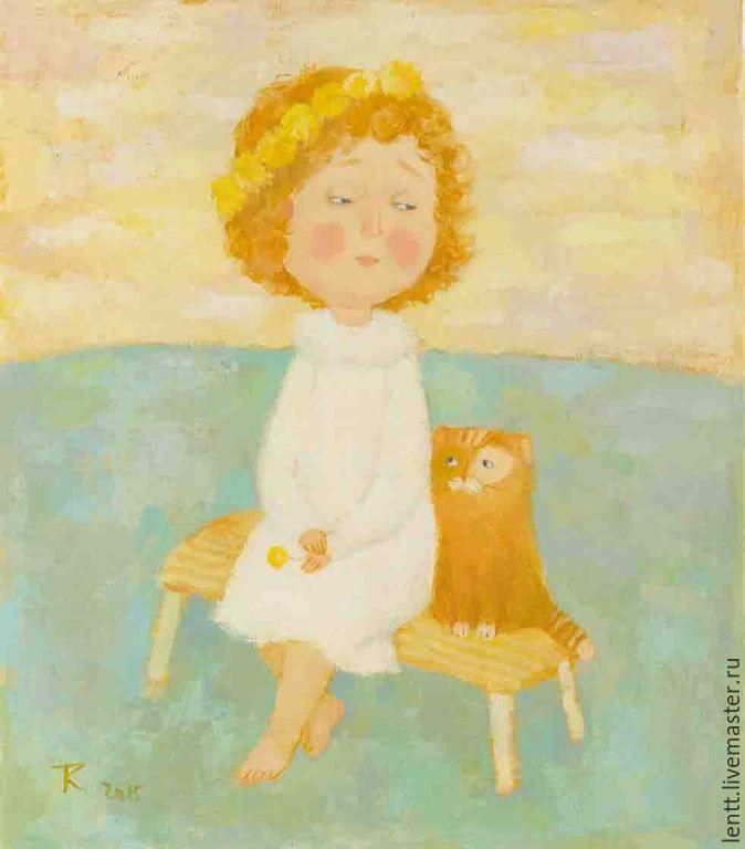 """Купить Картина маслом """"Венок из одуванчиков"""" - картина, картина маслом, Живопись, живопись маслом"""