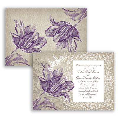 Vintage Love - Plum Purple - Wedding Invitation floral tulip design at Invitations By David's Bridal