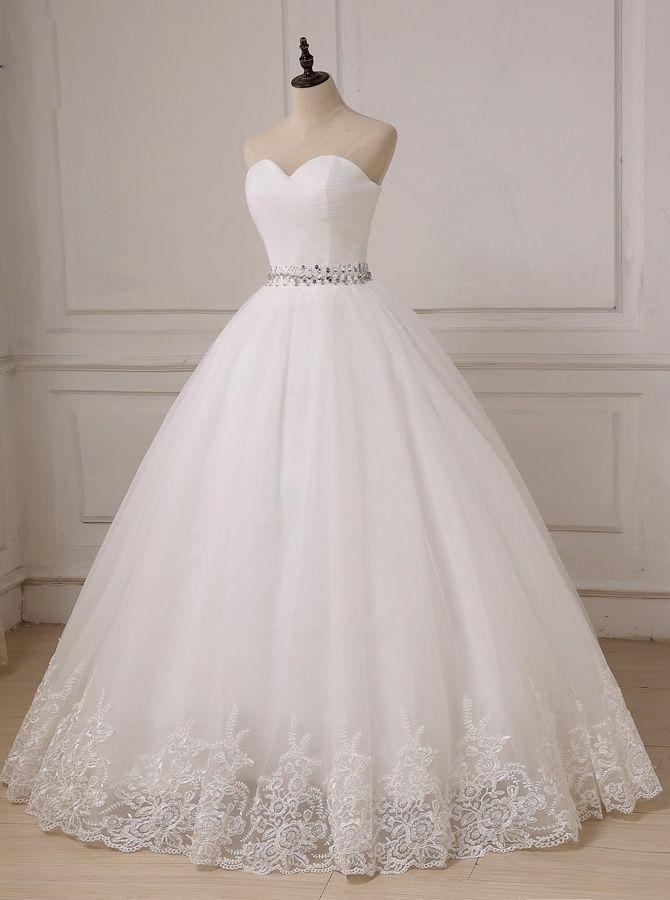 Princess Bridal Dress Sweetheart Wedding Gown Simple Full Length Wedding Gown A Line L Ball Gowns Wedding Lace Applique Wedding Dress Ball Gown Wedding Dress