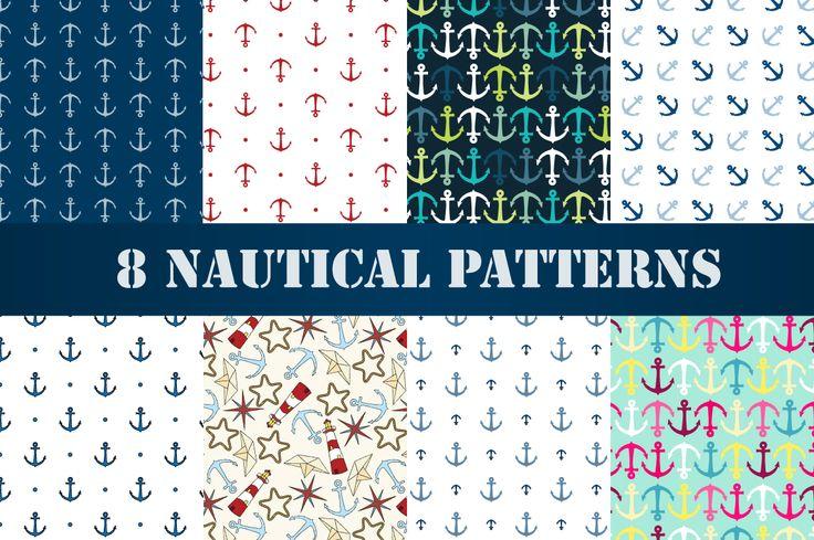 Set of 8 nautical patterns, part 1 by Svetolk on @creativemarket