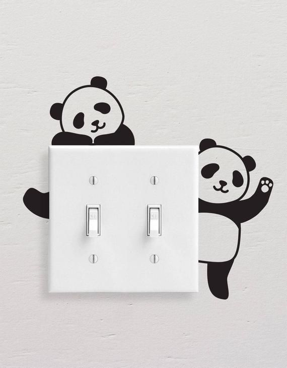 Panda Wall Decals Panda Light Switch Decal Simple Panda Vinyl