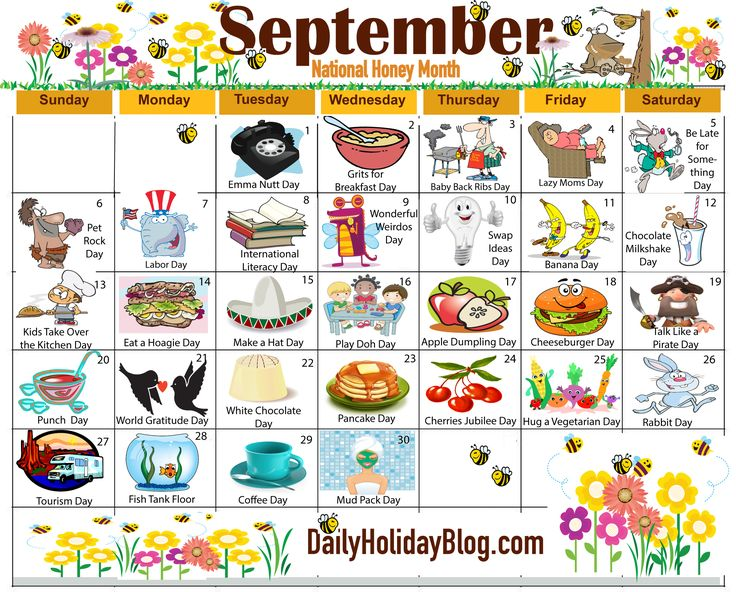 The new free September holiday calendar is available to print!  Each month a new calendar of obscure celebrations.                                                                                                                                                     More