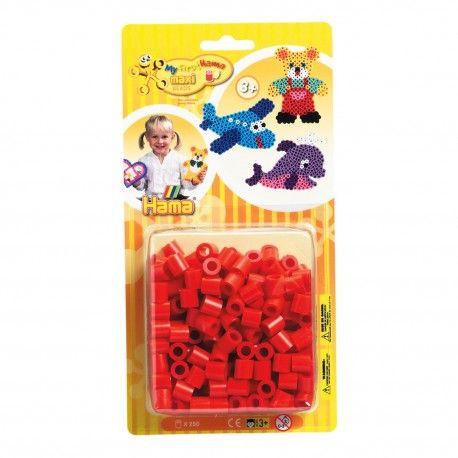 Zakje met 250 Hama Maxi strijkkralen in de kleur rood. Kleurcode 05.  Afmeting verpakking 22,5 x 11,5 x 4,5 cm Geschikt voor kinderen vanaf 3 jaar.