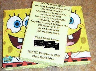 Spongebob invitations on real sponges...super cute idea!