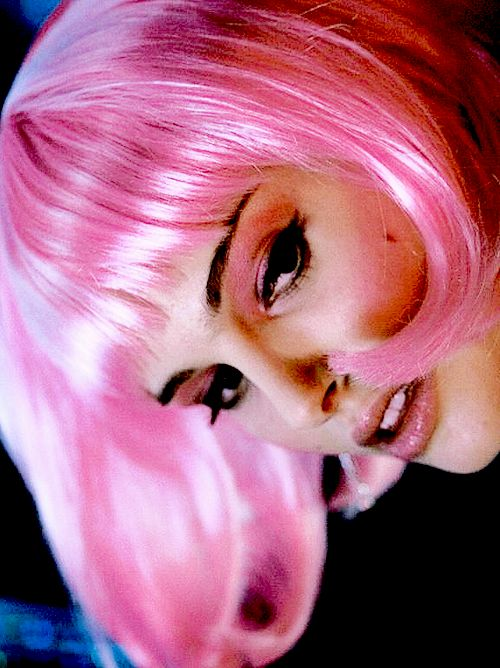 Natalie Portman in Closer: I have a pink wig like this. I wore it to a party and a guy said he saw me earlier @ a bus stop (I was headed to the party) and was really struck by it. :)