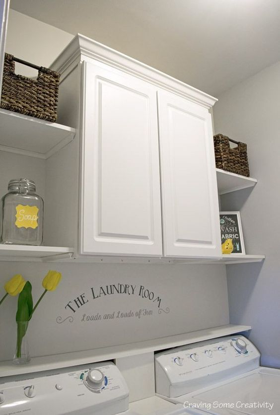 Small or Closet Laundry Room Makeover - Cabinet and Open Shelves for organization and storage in light grey and yellow color scheme, loads and loads of fun stencil on the wall.