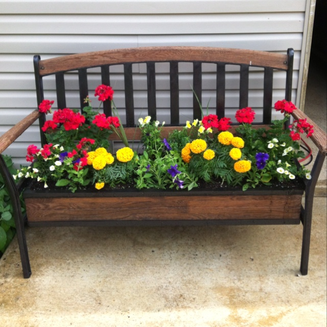 189 best chair planters images on pinterest chair for Flower bench ideas