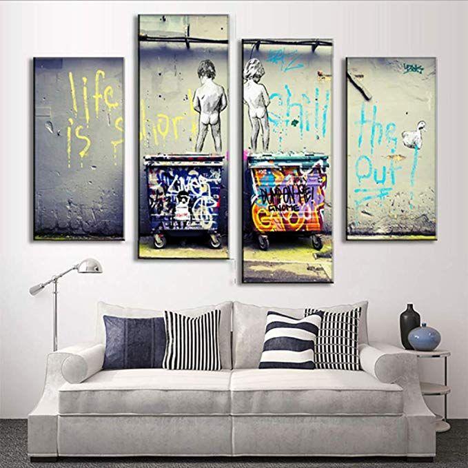 Large Canvas Print Street Artwork Graffiti Colorful Rain Wall Giclee 4Pcs