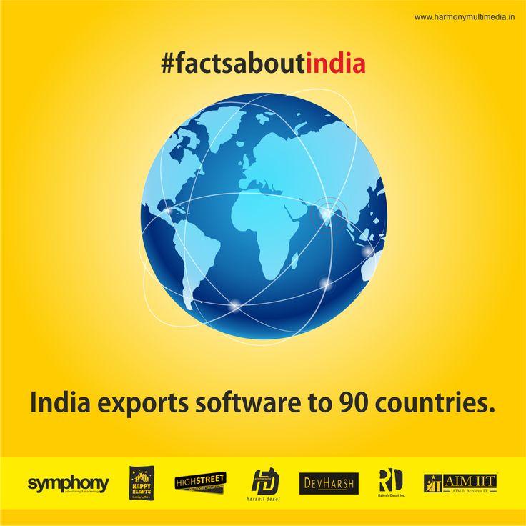 #FactsofIndia India exports softwares to 90 Countries #HarmonyMultimedia #Factoftheday