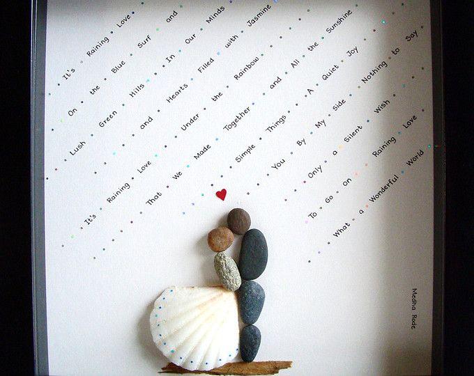Einzigartiges Hochzeitsgeschenk - Engagement Gift - Weihnachten Geschenk - Paares Geschenk - Liebe Geschenk - Braut und Bräutigam Geschenk - Kiesel-Art zu feiern und schätzen den besonderen Anlass; ein außergewöhnliches Geschenk, die für viele Jahre geschätzt werden wird.  ✿ Original Kiesel-Art mit einem Sinn für Romantik, Geheimnis und Magie. ✿ Kommt in 8 x 8 Zoll schwarz Shadow-Box-Stil-Rahmen, etwa 1,5 Zoll tief. Kommt mit Glas. ✿ Kommt von mir signiert. ✿ Kann auf Wunsch personalisiert…