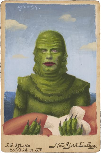 "Creature"" by Alex Gross   Mixed Media on Antique Photograph, 7 x 5 Inches"