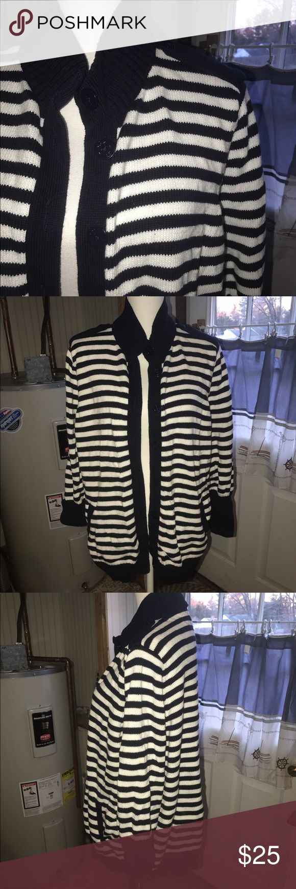 Nautical Cardigan Super cute for summer!  Navy and White Striped Cardigan with Navy color and slash pockets.  The navy colored buttons even have anchors on them! Talbots Sweaters Cardigans