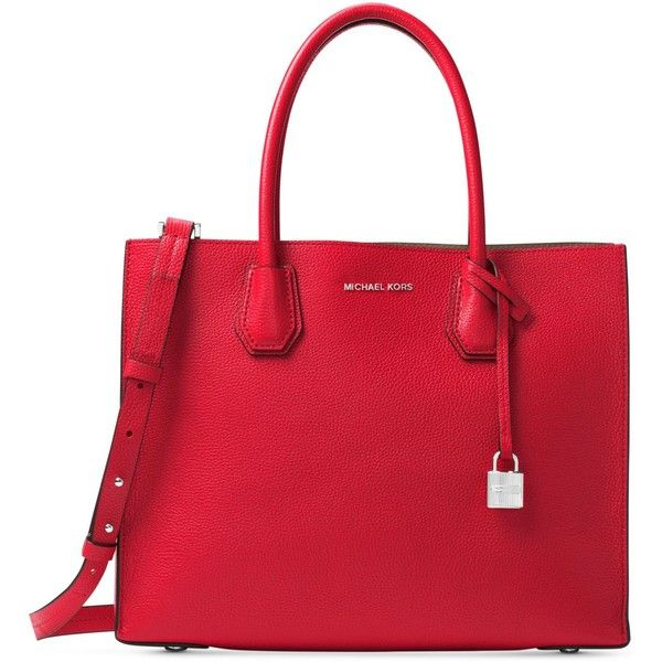 Michael Michael Kors Studio Mercer Large Convertible Tote ($298) ❤ liked on Polyvore featuring bags, handbags, tote bags, bright red, leather handbag tote, leather crossbody, red leather tote bag, michael kors purses and michael kors crossbody