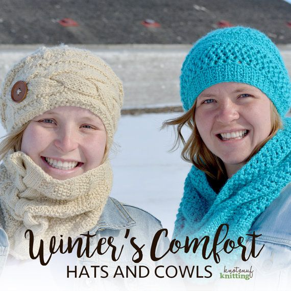 KNITTING PATTERNS PDFS  Hat and Cowls  by KnotEnufKnitting on Etsy