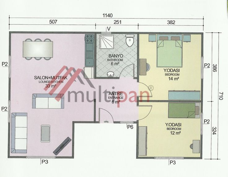 MP4 73 Square Meters Combined Lounge / Kitchen 2 Bedrooms 1 Bathroom