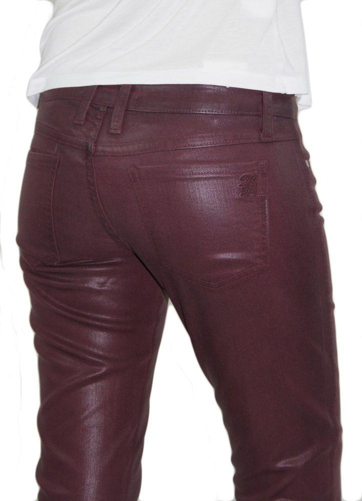 Frankie B Jeans Women Coated Wax Denim Moto Slick Skinny Leg Faux Leather Pants  #FrankieB #SlimSkinny
