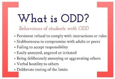 oppositional defiant disorder 3 essay Question 20 of 43 40 points compare and contrast oppositional defiant disorder and conduct disorder oppositional defiant disorder (odd) is often characterized by a recurrent pattern of disobedience, defiance, and in some cases hostile behavior, often towards authority figures.