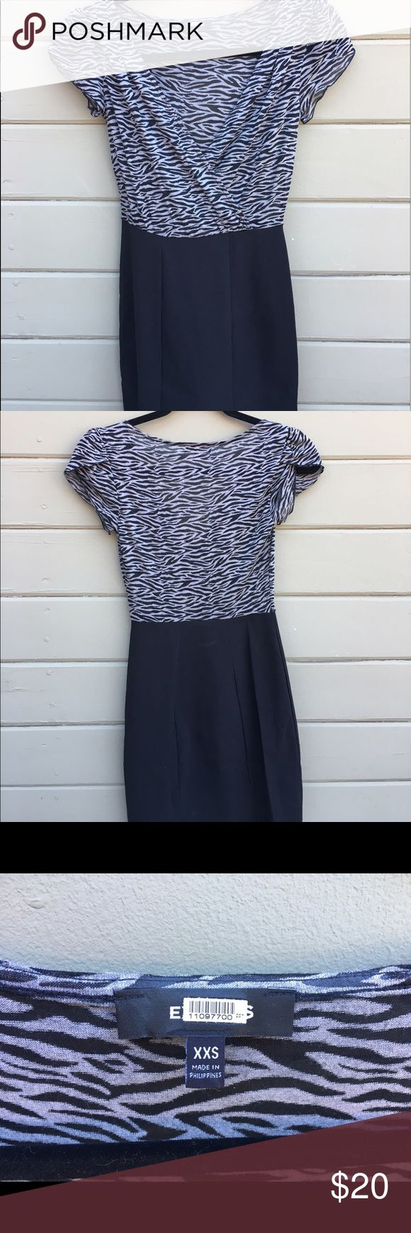 Express Animal Print and Black Color Block Dress Top is sheer, stretchy. Wearable for a night out or with an under tank and a blazer in the office Express Dresses Midi