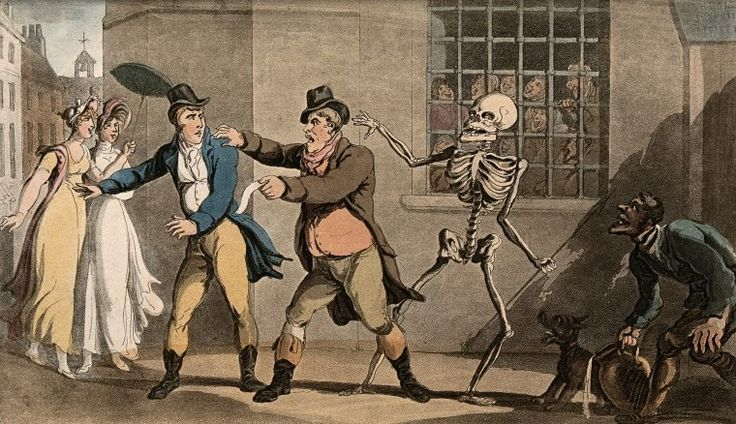 The dance of death: the catchpole by T. Rowlandson, 1816. The Wellcome Library, CC BY