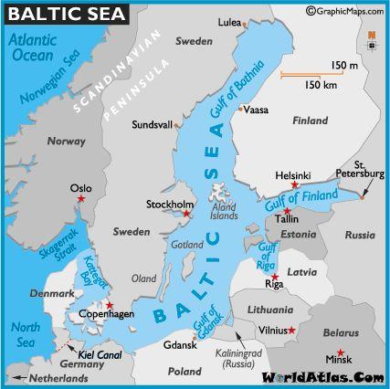 Map of Baltic Sea -World Atlas Northern European Capitals Cruise Disney Cruise Line July6-July18, 2010