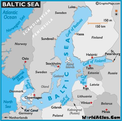 Map of Baltic Sea -World Atlas Northern European Capitals Cruise Disney Cruise Line July6-July18, 2010