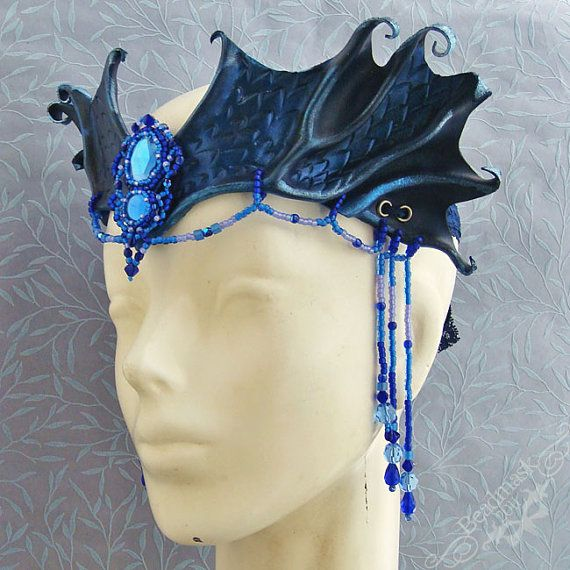 Siren's Song Leather Headdress with Beaded Jewels and Veil - Mermaid or Dryad Costume Crown by beadmask