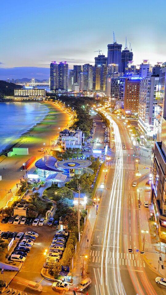 Vista áerea de la playa de Haeundae, Corea del Sur