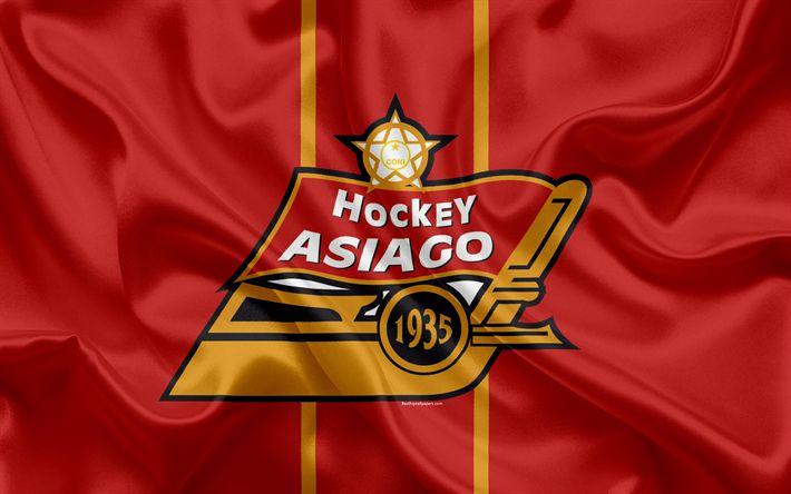 Download wallpapers Asiago Hockey 1935, 4k, Italian hockey club, logo, emblem, Alps Hockey League, Serie A, Asiago, Italy, HC Asiago 1935, hockey, flag of Italy