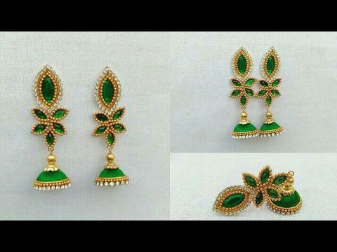 Silk Thread Jhumkas Meenakari Style (Tutorial)||DIY ||Silk Thread Earrings - YouTube