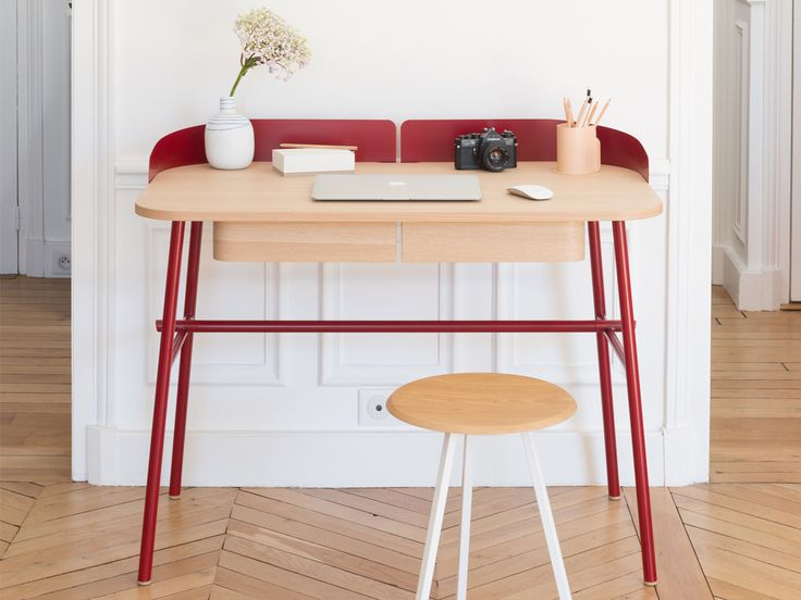 Victor rouge - Espace de réflexion- #hartô #harto #hartodesign #hartoedition #desk #red #victor #oak #metal #inspiration #gustave #home #decoration