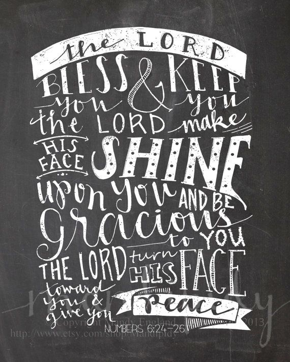 The Lord Bless You - Numbers 6:24-26 - Vintage Chalkboard Typography - 8x10 Illustrated Print by Mandipidy on Etsy, $17.50
