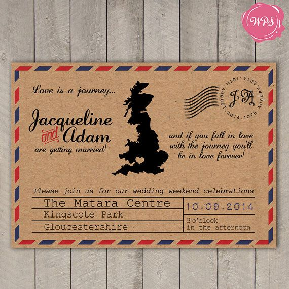 Custom Printable DIY Rustic Travel/Destination Themed Wedding Invitation by WeddingPlanningShop
