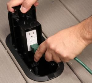 Unsightly electrical outlets are hidden under the deck and made available only when needed with this clever product